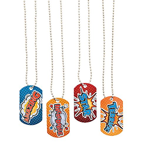Fun Express - Super Hero Dog Tag Necklace - Jewelry - Necklaces - Dog Tag Necklaces - 12 Pieces