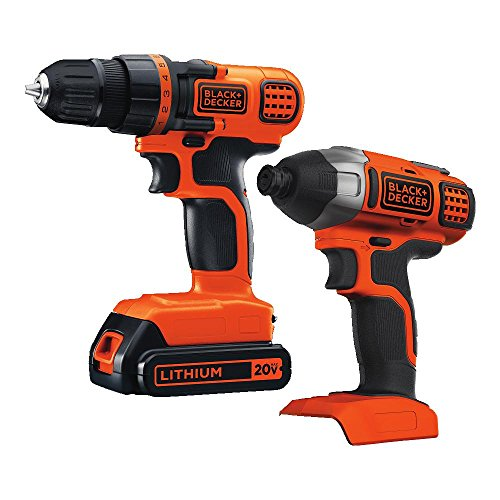 BLACK+DECKER 20V MAX Cordless Drill Combo Kit, 2-Tool (BD2KITCDDI) (Drill Black And 20v Decker)