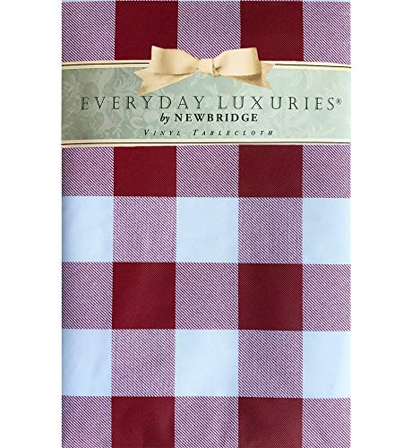 Newbridge Cottage Gingham Buffalo Check Vinyl Flannel Backed Tablecloth - Rustic Checkered Indoor/Outdoor Vinyl Picnic, BBQ and Dining Tablecloth - 60