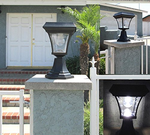 - GSL SS-GSL-PLD205 Ultra Bright 4 LEDs Solar Fence Gate Lamp Post
