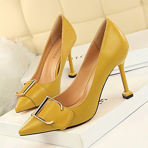 GAOLIM El Profesional Zapatos De Mujer Tacones Finos Con Hebilla Metálica Con Punta De Luz Solo Zapatos Amarillo