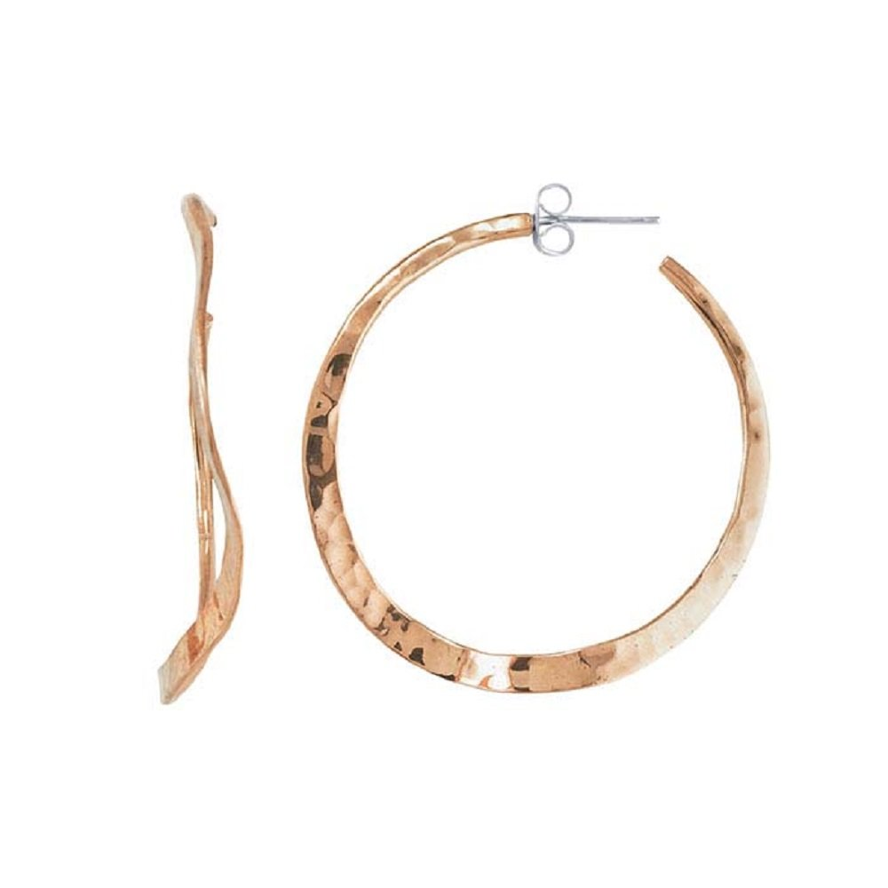 Tisoro Copper Wavy Hammered Hoop Earrings with Post - 100% Hypoallergenic & Allergy Free Jewelry