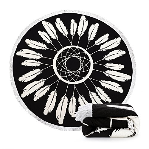 Indian Mandala Microfiber Large Round Beach Blanket with Tassels Ultra Soft Super Water Absorbent Multi-Purpose Towel 59 inch across (NO.4) by Ricdecor