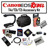 Deluxe Accessory Kit for Canon EOS Rebel T2i T3i T4i with Opteka Microfiber Deluxe Photo / Video Camera Gadget Bag, Opteka X-Grip Professional Camera / Camcorder Action Stabilizing Handle, 16GB SDHC High Speed Memory Card and More!