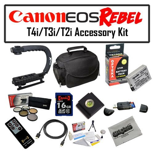 Deluxe Accessory Kit for Canon EOS Rebel T2i T3i T4i with Opteka Microfiber Deluxe Photo / Video Camera Gadget Bag, Opteka X-Grip Professional Camera / Camcorder Action Stabilizing Handle, 16GB SDHC High Speed Memory Card and More! by 47th Street Photo