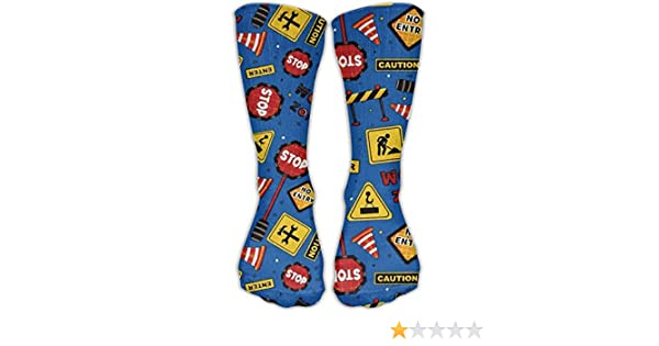 Unisex Casual Crew Socks Lets Build Tossed Construction Signs Fashion Novelty Socks