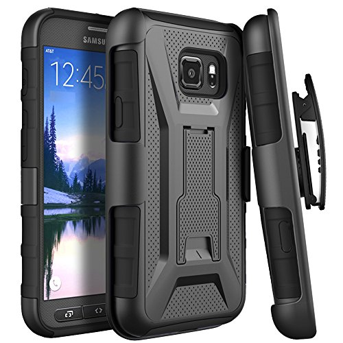 Galaxy S7 Active Case, Cimo [Armor Guard] Heavy Duty Shock Absorbing Dual Layer Protection Cover with Kickstand and Locking Belt Swivel Clip for Samsung Galaxy S7 Active (2016) - Black