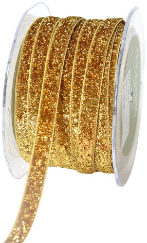May Arts 3/8-Inch Wide Ribbon, Gold Metallic Velvet