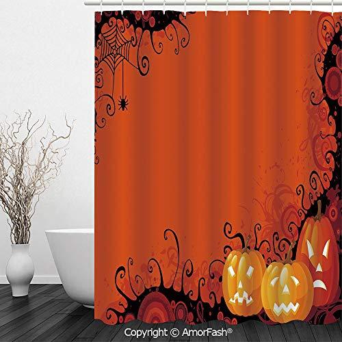 Spider Web,Bathroom Shower Curtains Durable Waterproof Fabric Bath Curtain Sets with 12 Hooks,72 x 72 inches,Three Halloween Pumpkins Abstract Black Web Pattern Trick or Treat Decorative,Orange Marigo]()