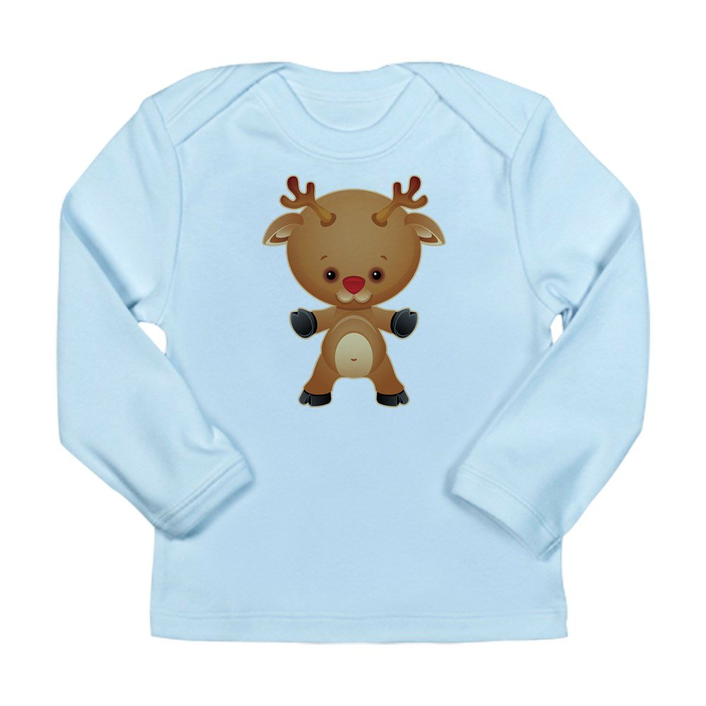 Truly Teague Long Sleeve Infant T-Shirt Christmas Cuties Rudolf The Red Nose Reindeer Sky Blue 6 To 12 Months