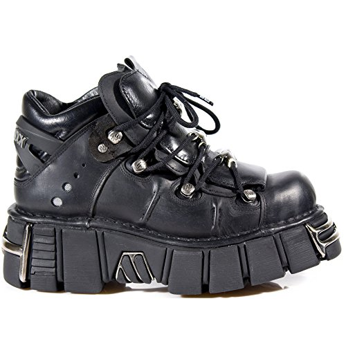 New Rock Shoes - Ladies Black Leather High Combat Boots with Metal Heel UK 8 / Black by New Rock Shoes