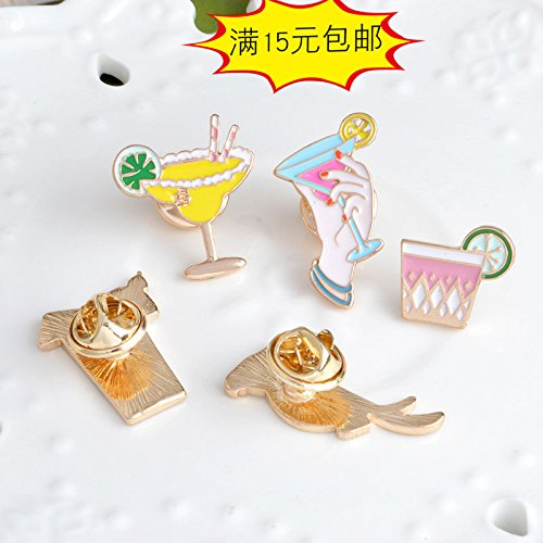 Girls series glass goblet drink cup cute cartoon parrot brooch Jaese and Korean men and women couple style