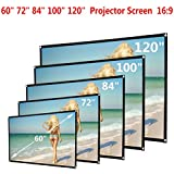 Boofab Indoor Outdoor 60inch HD Projector Screen 16:9 Home Cinema Theater Projection Portable Screen Roll Easily,60inch/72inch/84inch/100inch/120inch (100inch)
