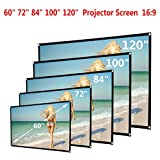 Boofab Indoor Outdoor 60inch HD Projector Screen 16:9 Home Cinema Theater Projection Portable Screen Roll Easily,60inch/72inch/84inch/100inch/120inch