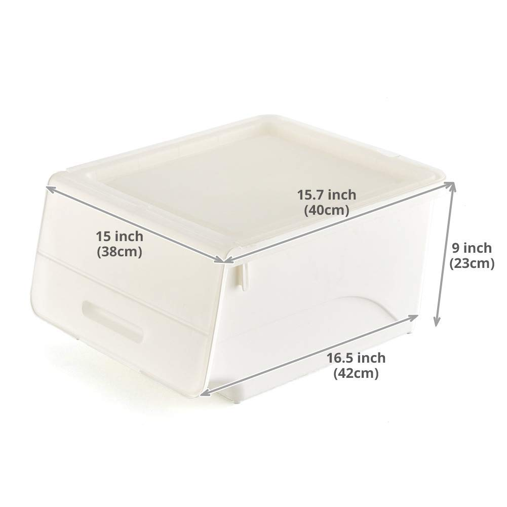 Bedroom Bathroom Nursery Closet 3-Pack Stackable Storage Bins with Lids, Classroom EZOWare Plastic Stackable Storage Cubes Bin Box Containers for Home Office Living Room White//Clear