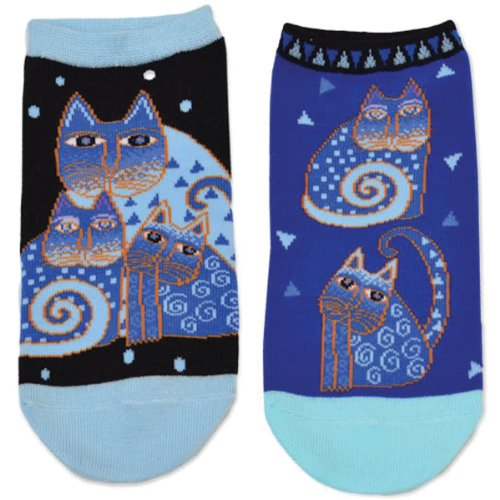 Laurel Burch Women's Indigo Cats 2 Pair Pack, Blue, 9 -11