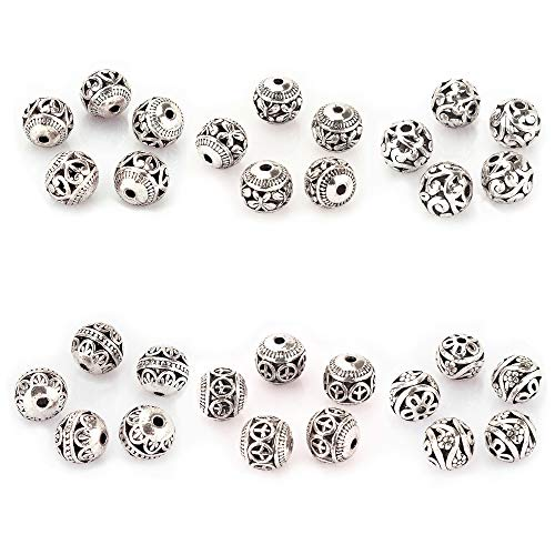 LolliBeads (TM) 10mm 30Pcs Tibetan Silver Round Hollow Spacer Charm Beads Jewelry Findings Mix Lot Box Set Assortment