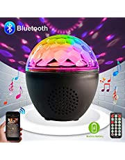 Party lights Disco Ball Bluetooth Speaker LED Strobe Lights Sound Activated, RBG dj lights,Portable 16 Modes Stage Light for Home Room Dance Parties Birthday Bar Karaoke Xmas Wedding Show Club Pub with Remote,Built-in battery
