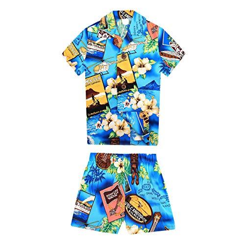 Boy Hawaiian Aloha Luau Shirt and Shorts 2 Piece Cabana Set in Blue Paradise 8 ()
