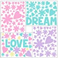 Create-A-Mural Love Word Flowers, Hearts, Stars Girls Wall Decals [136] Piece Pastel Kids Room Decor Stickers, Nursery,Toddler, Teen Peel & Stick Kids Room Decor