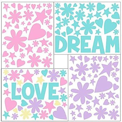 Create-A-Mural Love Word Flowers, Hearts, Stars Girls Wall Decals [136] Piece Pastel Kids Room Decor Stickers, Nursery,Toddler, Teen Peel & Stick Kids Room Decor