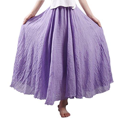 Femme Jupe Bohme Tour de Taille Elastique Casual en Coton Lin Maxi Robe Mariage Plage Violet
