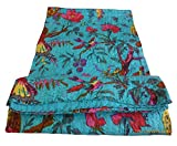 Colors Of Rajasthan Bird Print King Size Kantha Quilt Sky Blue, Kantha Blanket, Bed Cover, King Kantha bedspread, Bohemian Bedding Kantha Size 90 Inch x 108 Inch