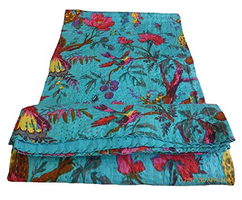 (Colors Of Rajasthan Bird Print King Size Kantha Quilt Sky Blue, Kantha Blanket, Bed Cover, King Kantha bedspread, Bohemian Bedding Kantha Size 90 Inch x 108)
