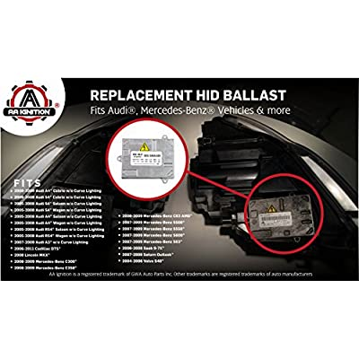 HID Xenon Headlight Ballast - Control Unit Module - Replaces 307 329 115, 8e0 907 391b, 1307 329 098 - Fits Audi A4, S4, RS4, A3, Cadillac DTS, Lincoln MKX, Saab 9-7x, Mercedes-Benz C300, S63 and more: Automotive