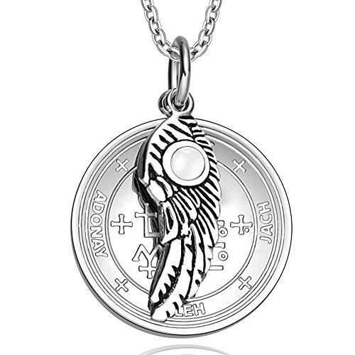 Archangel Samael Sigil Amulet Magic Powers Angel Wing Charm White Simulated Cats Eye 18 Inch Necklace