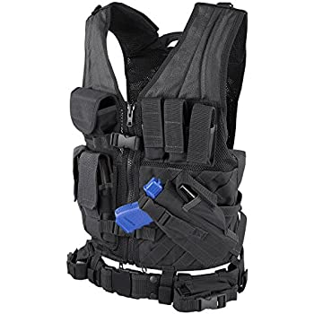 Condor Cross Draw Vest/Tactical Belt (Black, Medium/Large)