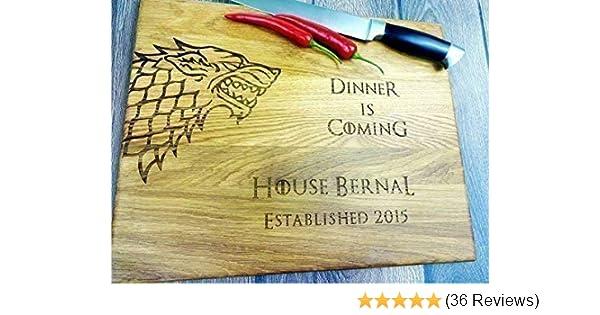 b56b5b2f84e3 Dinner is coming. Winter is coming. Custom Laser engraved cutting board.  Custom personalized cutting board. Wedding gift. Housewarming gift. Stark