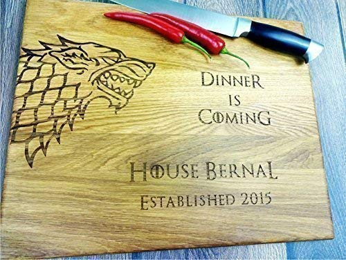 (GAME of THRONES with personalization. Dinner is coming. Winter is coming. Custom Laser engraved cutting board. Custom personalized cutting board. Wedding gift. Housewarming gift. Stark)