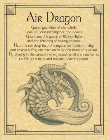 Home Wall Artwork Prayer Air Dragon Small Parchment Paper Poster Framing Size Print -