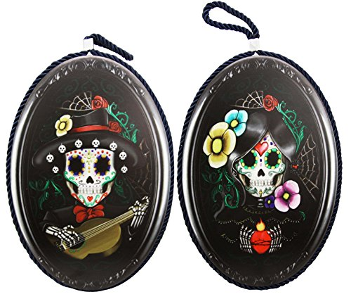 Day of The Dead Skeleton Mariachi Floral Lovers Old Fashioned Oval Portrait 9.5