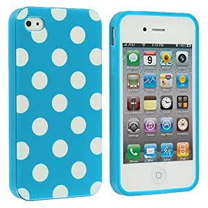 2015 CustomizedBaby Blue / White Polka Dot TPU Rubber Skin Case Cover for Apple iPhone 4 4G 4S