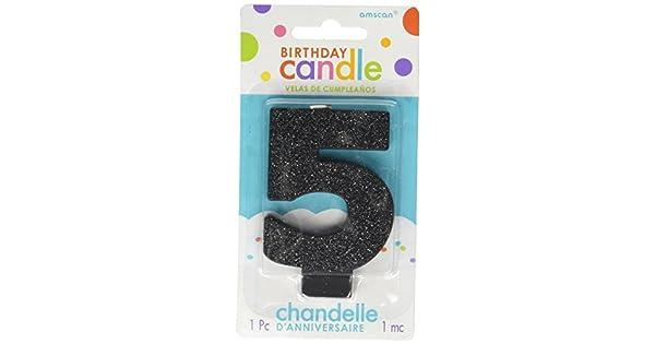 Amazon.com: Negro # 5 cumpleaños Glitter 3.25