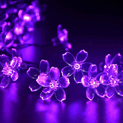 UCTEK Solar Christmas String Lights, 21ft 50 Halloween String Lights, Fairy LED Lights String, Solar Flower Decorative Lighting for Outdoor Home Garden Patio Xmas Trees Party and Holiday Purple