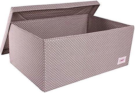 Minene - Caja de almacenaje grande con tapa, diseño de lunares, color gris y blanco: Amazon.es: Bebé