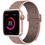 INTENY Sport Band Compatible with Apple Watch 38mm 40mm, Nylon Sport Loop, Strap Replacement for iWatch Series 4, Series 3, Series 2, Series 1 (Pinksand, 38mm 40mm)