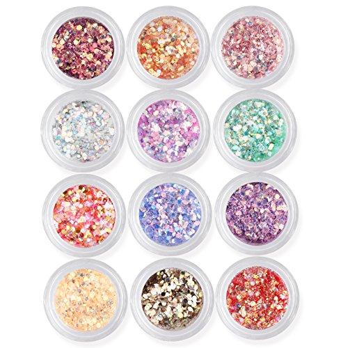 Gellen glitzer Puder für Nageldesign 12 Farben #set 1