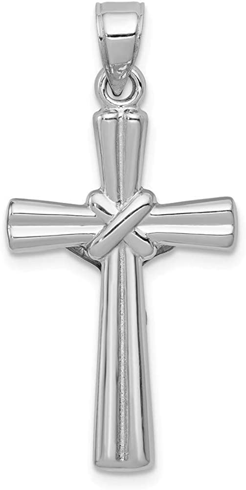 FB Jewels Solid 14K White Gold Reversible Crucifix//Cross Pendant