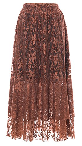 Chartou Women's Sweet Elastic-Waist Asymmetric Floral Laced A-Line Layered Long Flare Skirts (Brown, X-Small)