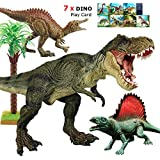 """Large T Rex Dinosaur Toys, 12"""" Tyrannosaurus Rex, Jurassic World with Realistic Design, Dino Play Set Action Figures, Gift for Boys, Game,Party,Toddler, 3/4/5/6 Years Old Kids, 7pcs Dino Play Card"""