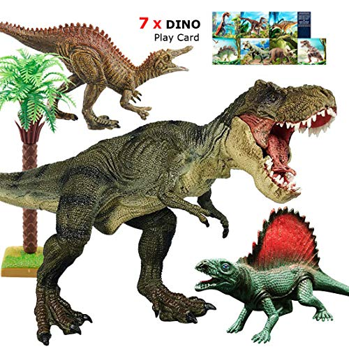 "Large T Rex Dinosaur Toys, 12"" Tyrannosaurus Rex, Jurassic World with Realistic Design, Dino Play Set Action Figures, Gift for Boys, Game,Party,Toddler, 3/4/5/6 Years Old Kids, 7pcs Dino Play Card"
