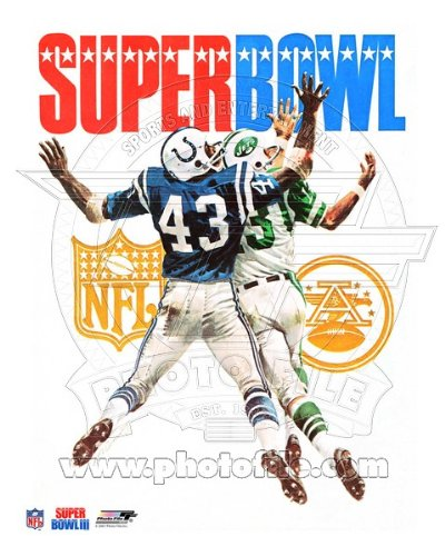 - Super Bowl III NY Jets & Baltimore Colts Program Cover 1969 Photo 8x10