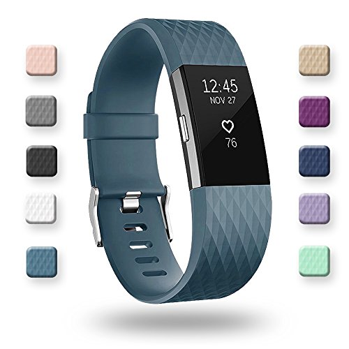 POY Replacement Bands Compatible for Fitbit Charge 2, Classic & Special Edition Sport Wristbands, Slate Small, 1PC]()