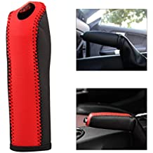 beler Auto Car Anti-slip Genuine Leather Handbrake Protector Cover Case for Ford Mustang