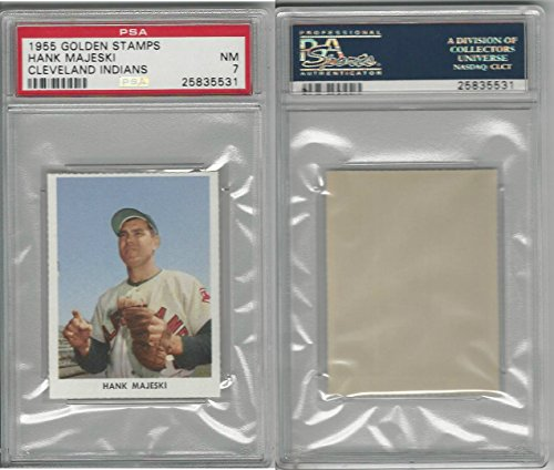 1955 Golden Stamps, Cleveland Indians, Hank Majeski, PSA 7 NM 1955 Golden Stamp