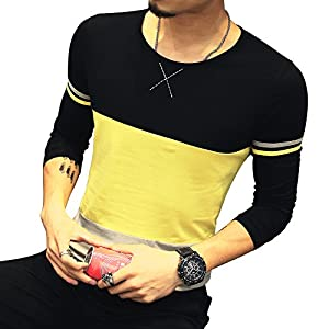 LOGEEYAR Mens Cotton Fitted Short-Sleeve Contrast Color Stitching T-Shirt (Large, 633-yellow Black)